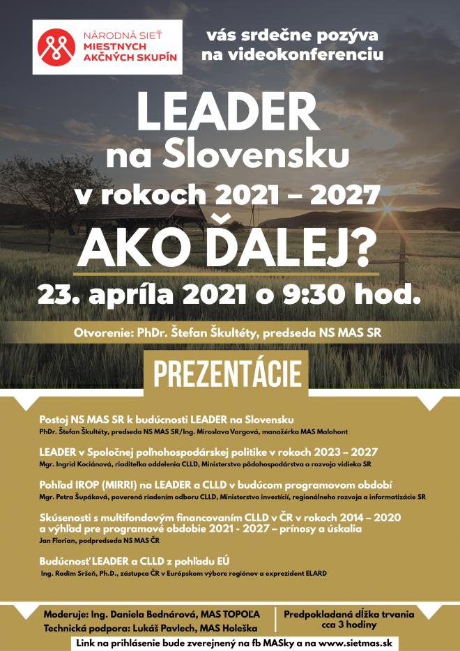 LEADER je pre rozvoj vidieka rozhodujúci. NS MAS chce nové pravidlá pre budúce programové obdobie