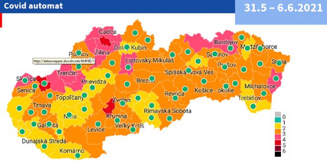 Od 31. mája 24 žltých okresov a 3 červené podľa COVID AUTOMATu
