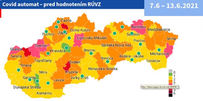 Od 7. júna 2 zelené okresy a 3 červené podľa COVID AUTOMATu