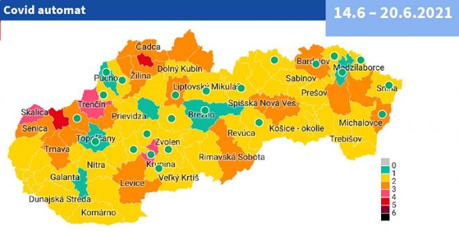 Od 14. júna 6 zelených okresov a 2 červené podľa COVID AUTOMATu