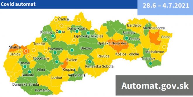 Od 28. júna 27 zelených okresov a 1 červený podľa COVID AUTOMATu