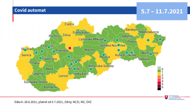 Od 5. júla 46 zelených okresov a 33 žltých podľa COVID AUTOMATu