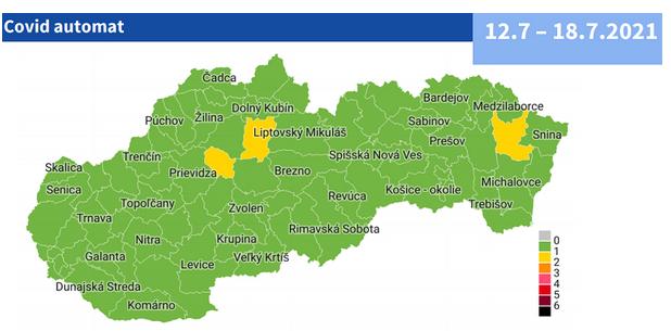 Od 12. júla 76 zelených okresov a 3 žlté podľa COVID AUTOMATu