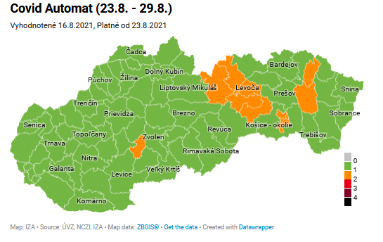 Od pondelka 23. augusta bude 12 okresov oranžových