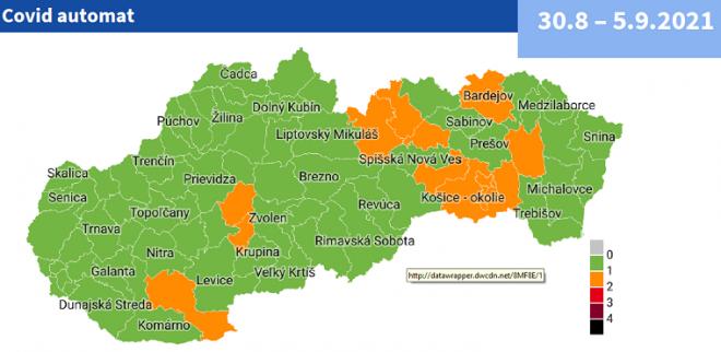 Od pondelka 30. augusta bude 14 okresov na Slovensku v oranžovej farbe