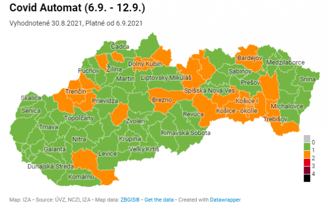 23 okresov v oranžovej farbe od pondelka 6. septembra
