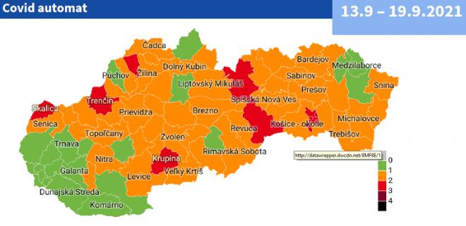 Od pondelka  13. septembra bude 10 okresov na Slovensku v červenej farbe